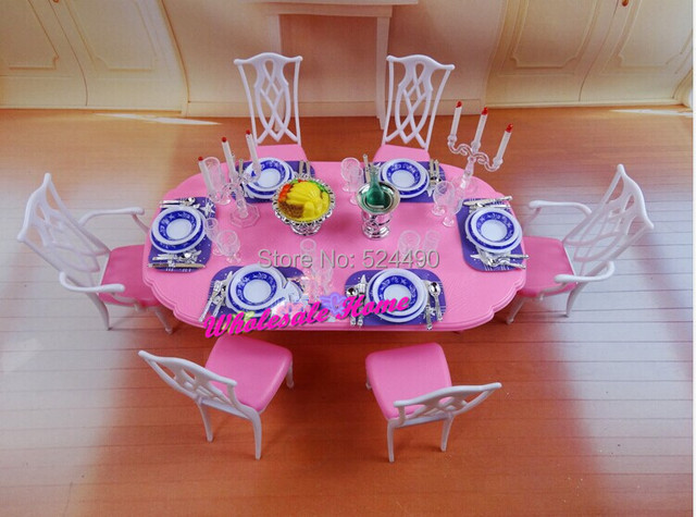 Blue U0026 White Dining Table Set / Dollhouse Dining Room Furniture Saucer Chair  Accessories For Barbie