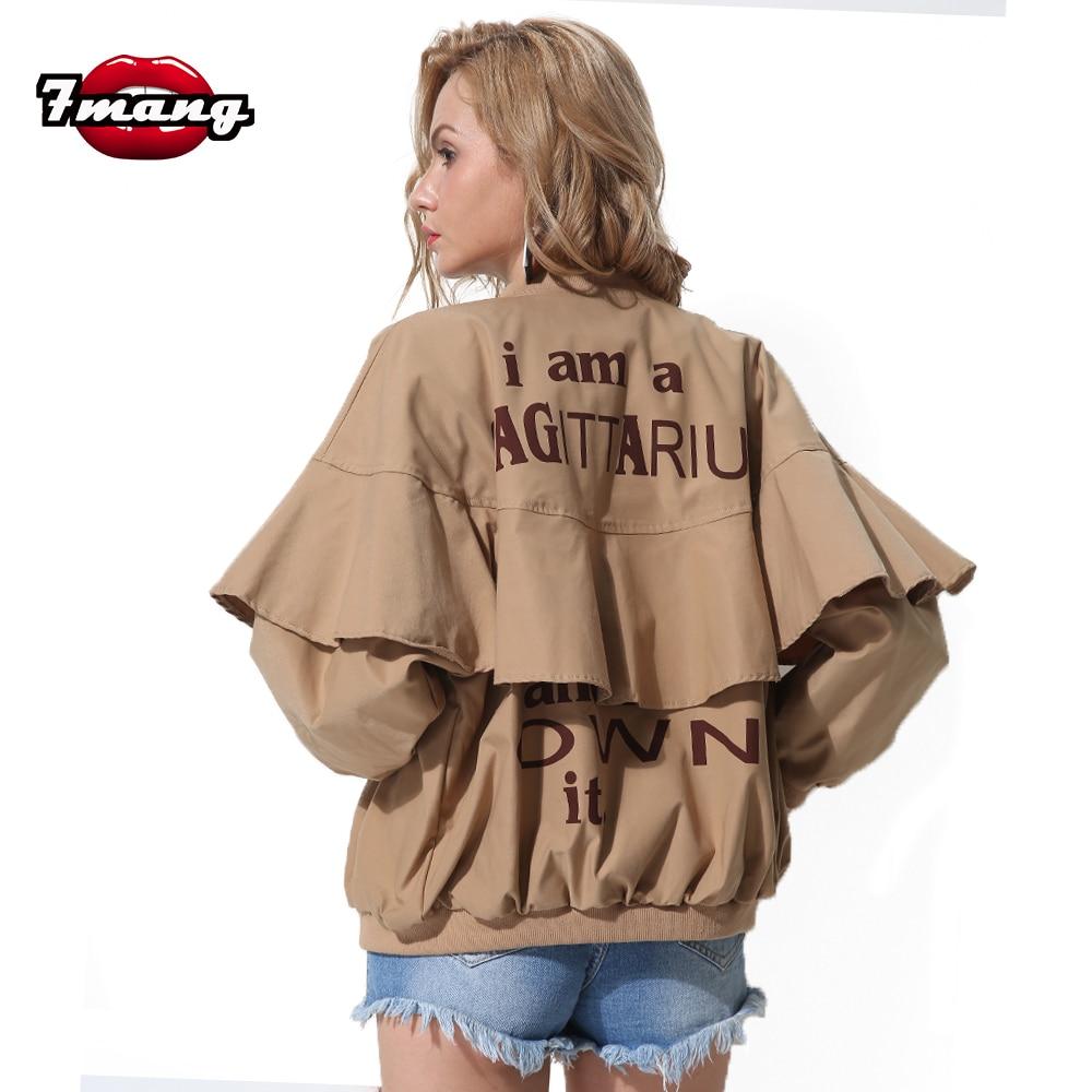 Industrious 7mang 2018 New Autumn Women Street Hiphop Black Khaki Letter Printing Jackets Long Sleeve Loose Cool Fashion Zipper Ruffle Coat Women's Clothing Basic Jackets