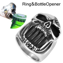 Size 7-16 Stainless Steel Biker Skull Ring Bottle Opener Halloween Costume Cocktail Party Punk Hiphop Style Rock Star