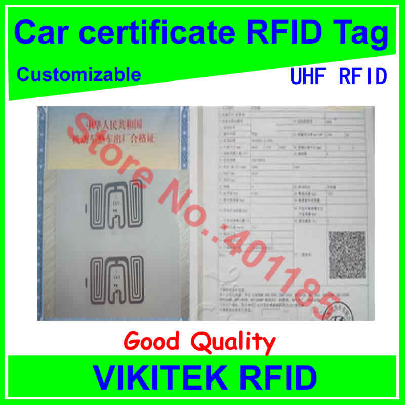 Car certificate UHF RFID tag customizable adhesive 860-960MHZ Monza4 EPC C1G2 ISO18000-6C can be used to RFID tag and labe