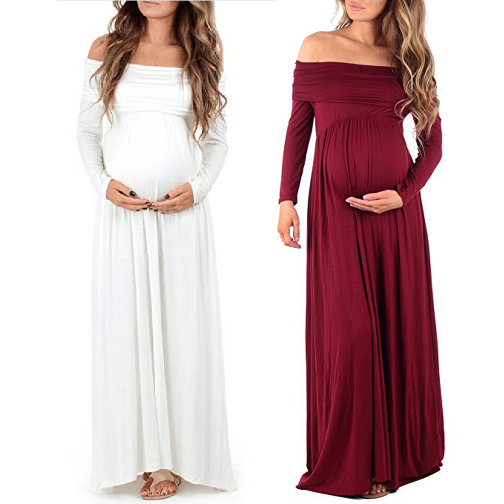 New Women Maternity dress Off Shoulders Pregnants Photography Props Nursing Dress Long Sleeves Pregnant Women Dresses light coffee knitted long sleeves off shoulder midi dress