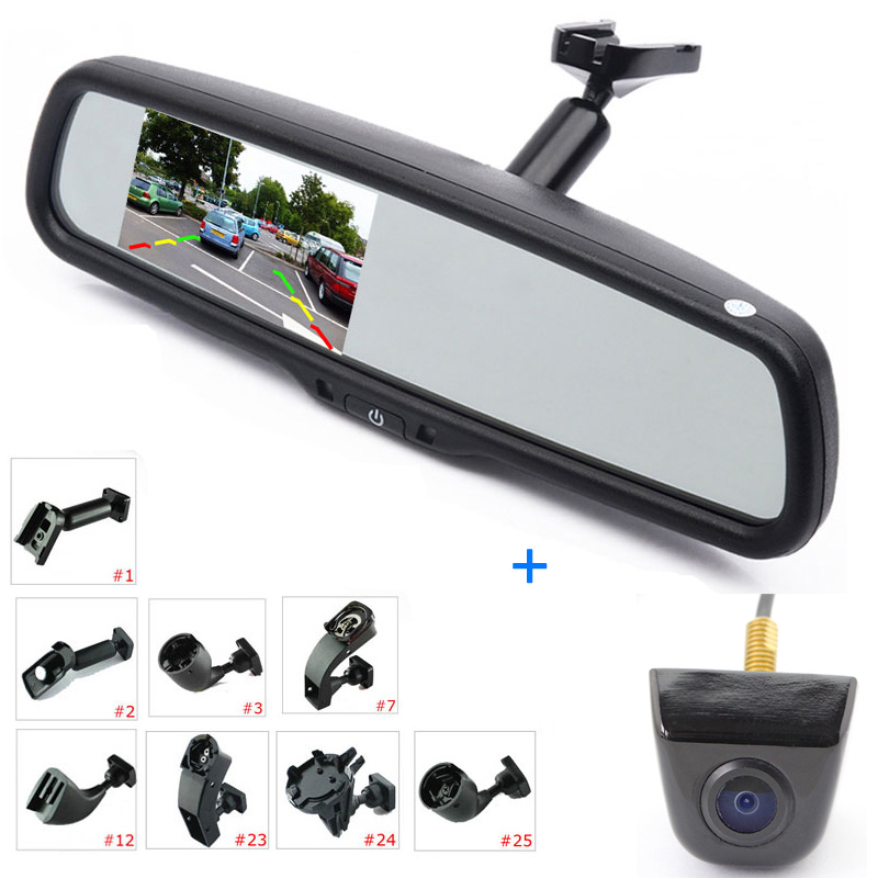 ANSHILONG 4 3inch LCD Car Rear View Interior Replacement Mirror Monitor with Reverse Backup Parking Camera System Kit   OEM Bracket