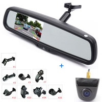 ANSHILONG 4.3 LCD Car Rear View Interior Replacement Mirror Monitor with Reverse Backup Parking Camera System Kit + OEM Bracket