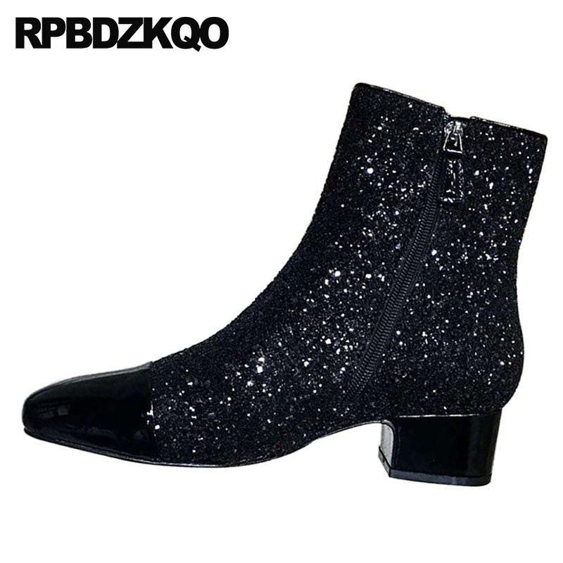 Con Punta Tobillo Piel 2 Black Silver Tacón Zapatos Otoño Invierno Charol Lentejuelas Mujer Negro plata Brillante Cuadrada Gruesas Marca black Botas Plateado Bling Medio De black 1 IwEwzRqt