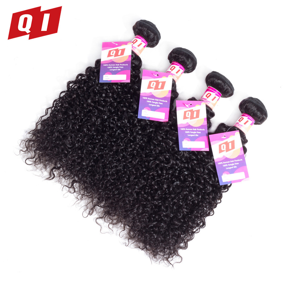 QI Hair Malaysian Kinky Curly Hair Weave 4 Bundles Non Remy Human Hair Weaving Natural Color 8-26 Inch Free Shipping