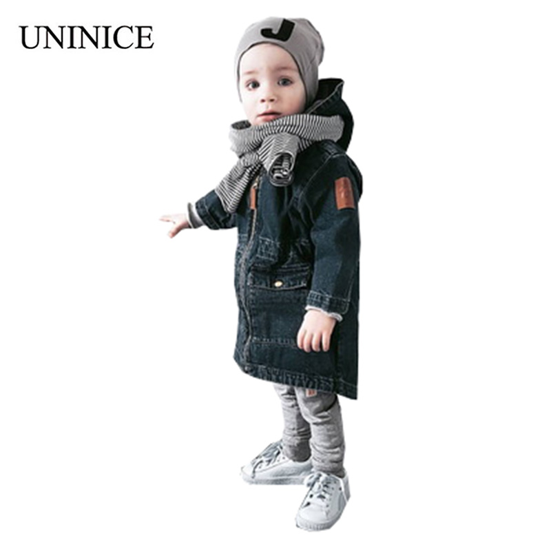 UNINICE Hooded Denim Winter Jacket for Girls Boys Baby Coat Children Warm Thick Parka Outerwear Autumn 2017 Fashion new winter baby hat real fur pom pom knitted toddler kid thick warm double raccoon fur balls beanies boys girls bonnet gorros f3