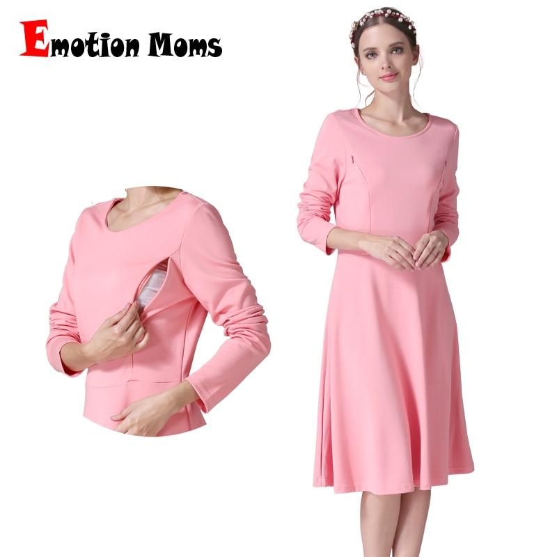 Long Sleeve Maternity Clothes Nursing Dress Patchwork Breastfeeding Dress For Pregnant -9333