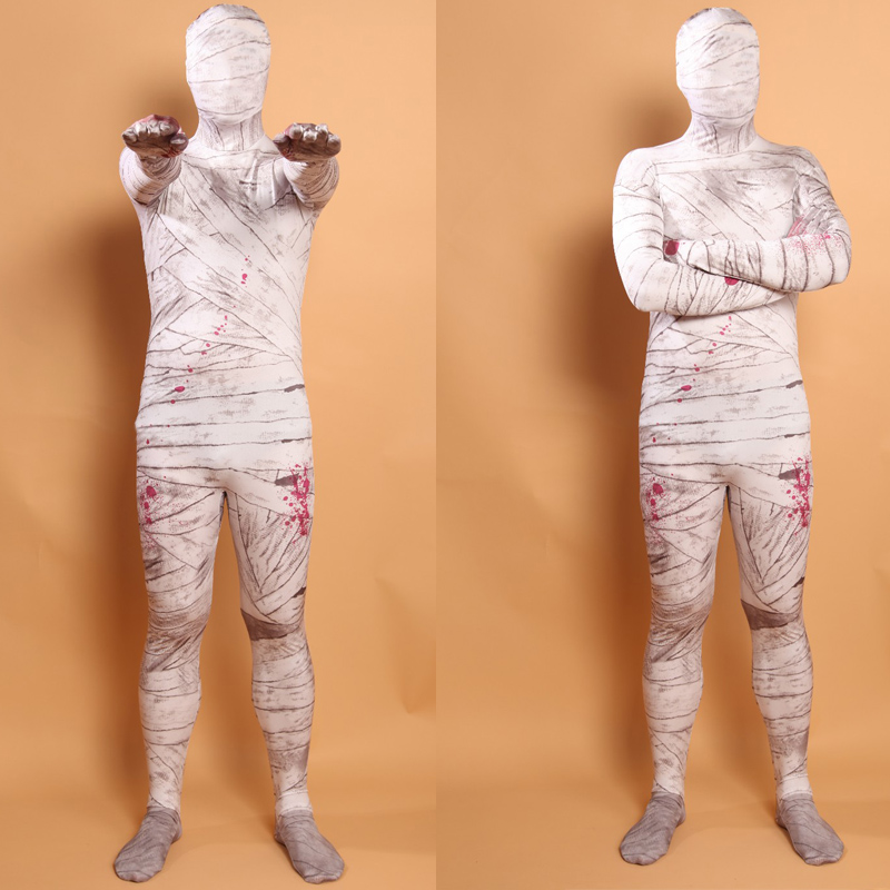 Adult Mummy Pattern Costumes Zentai Sexy Full Body Suit Lycra Cosplay Costumes Spandex Halloween Costume for Man
