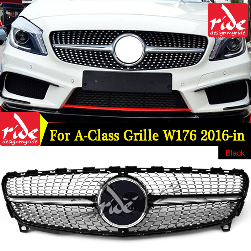 For MercedesMB W176 Diamond Style Front Bumper Grille ABS black A Class A180 A200 A250 300