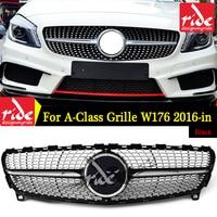 Для Mercedes Benz W176 Diamond Стиль переднего бампера гриль ABS черный класс A180 A200 A250 A300 A45 AMG 2016 в без Логотип звезда
