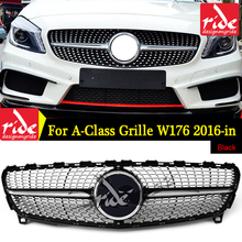 For MercedesMB W176 Diamond Style Front Bumper Grille ABS black A-Class A180 A200 A250 300 A45 2016-in Without sign Grills