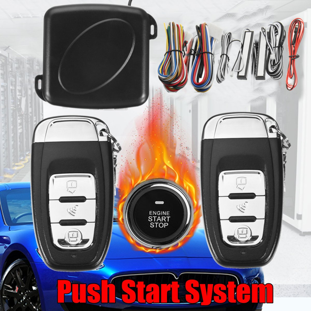 9 pièces alarme de voiture SUV, système d'alarme d'arrêt de démarrage, alarme de voiture télécommandée, bouton d'arrêt de démarrage avec fonction de commutateur de capteur automatique