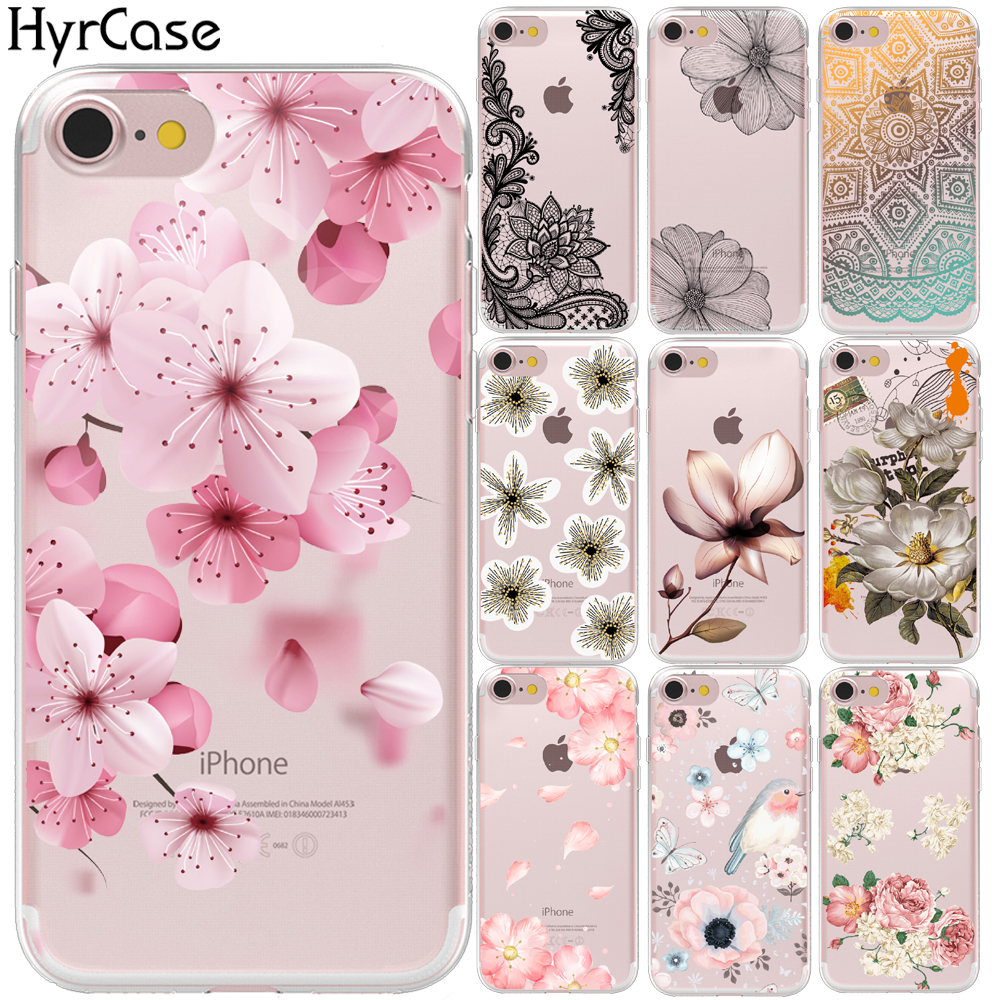 <font><b>Sexy</b></font> Floral Pattern Soft TPU Phone Back Case Cover For Apple iPhone 8 <font><b>7</b></font> 6 6S Plus XS Max XR 5 5S SE 10 X Flower Shell Capa Coque image