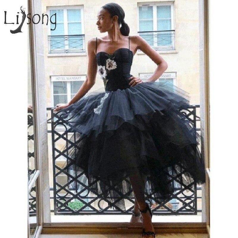 a6d05e4b150 Vintage Black Ruffles Tutu Prom Gowns Flower Appliques Ankle Length Prom  Dresses 2019 Abendkleider Plus Size