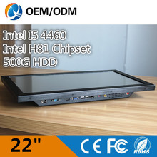 """QI YU TAI 22"""" all in one touch screen with 2GB RAM 500G HDD industrial panel pc"""