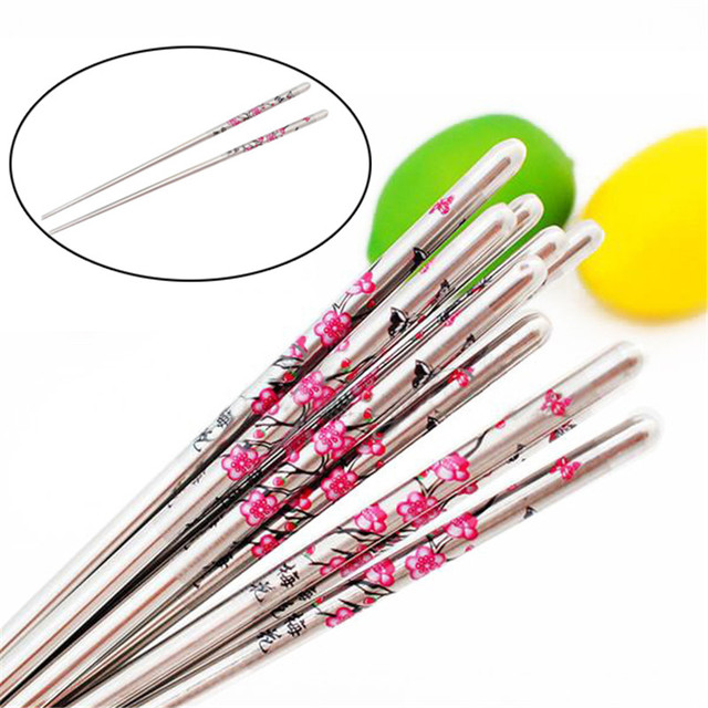 5 Pairs/lot Chopsticks Plum Flower Pattern Minion Chop Sticks ...