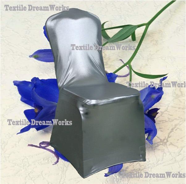 50 шт. блестящий серебристый металлик двусторонней спандекс Чехлы для стульев/лайкра Чехлы для стульев для Свадебные украшения - Цвет: Silver