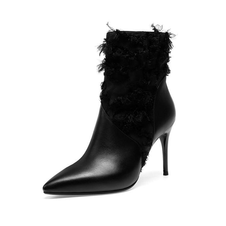 Dentelle Cheville En Chaussures Bottes Pointu Noir Dames Stilettos Sexy Femmes Zip Côté Hauts Pour Dame Patchwork Talons Bottines Chic Cuir Bout XwCIIq