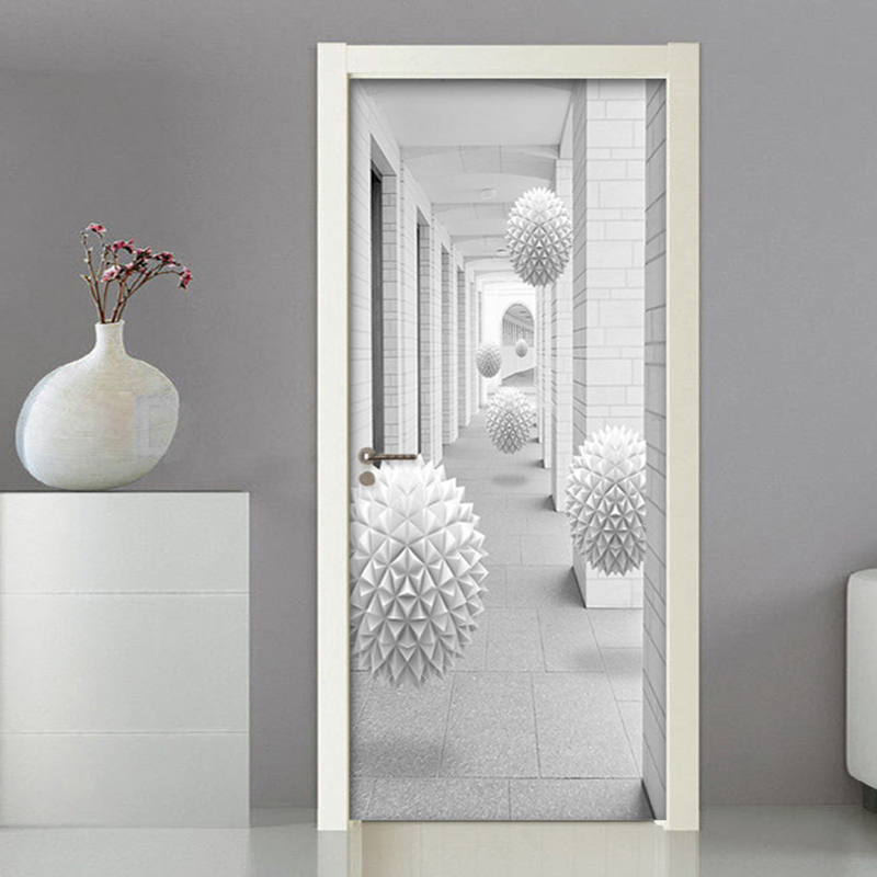 Modern Creative 3D Stereo Sphere Corridor Door Sticker Living Room Bedroom PVC Self Adhesive Waterproof Wall Paper 3D Home Decor