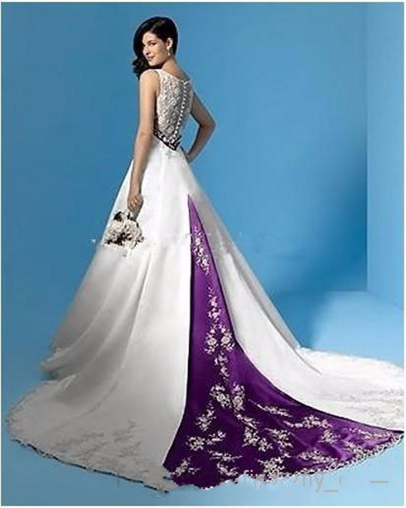 Best Selling Wedding Dress White Purple V Neck Empire Waist Beads ...