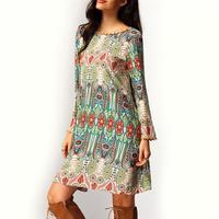 Retro National Loose Fashion Summer Vintage Ethnic Dress Sexy Women Boho Floral Printed Casual Beach Dress