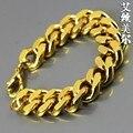 24 K Gold filled 22 cm de largo alta calidad Miami medusa grueso de la cadena moda Hiphop pulseras y brazaletes del encanto bijouterie hombres