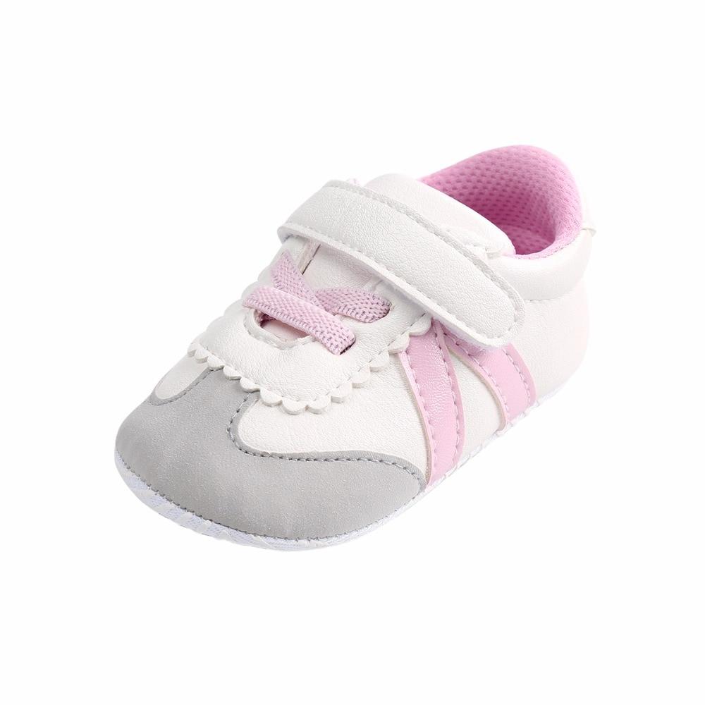 Infant Baby Baby Girl Shoes Cuero de PU a rayas de gancho y lazo de - Zapatos de bebé