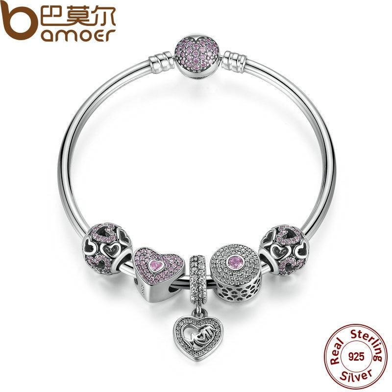 BAMOER Original 925 Sterling Silver Heart Bangles & Bracelet with Mom Pendant,Pink Sweetheart Charm Best Gift for Mother PSB002