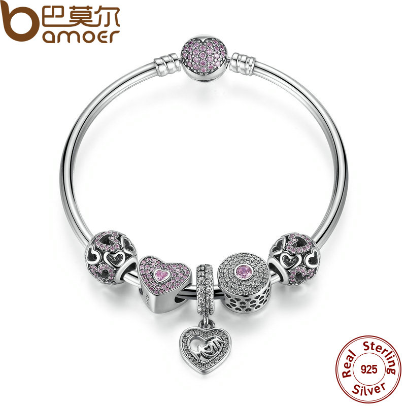 BAMOER Original 925 Sterling Silver Heart Bangles & Bracelet with Mom Pendant,Pink Sweetheart Charm Best Gift for Mother PSB002