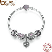 BAMOER Original 925 Sterling Silver Heart Bangles Bracelet With Mom Pendant Pink Sweetheart Charm Best Gift