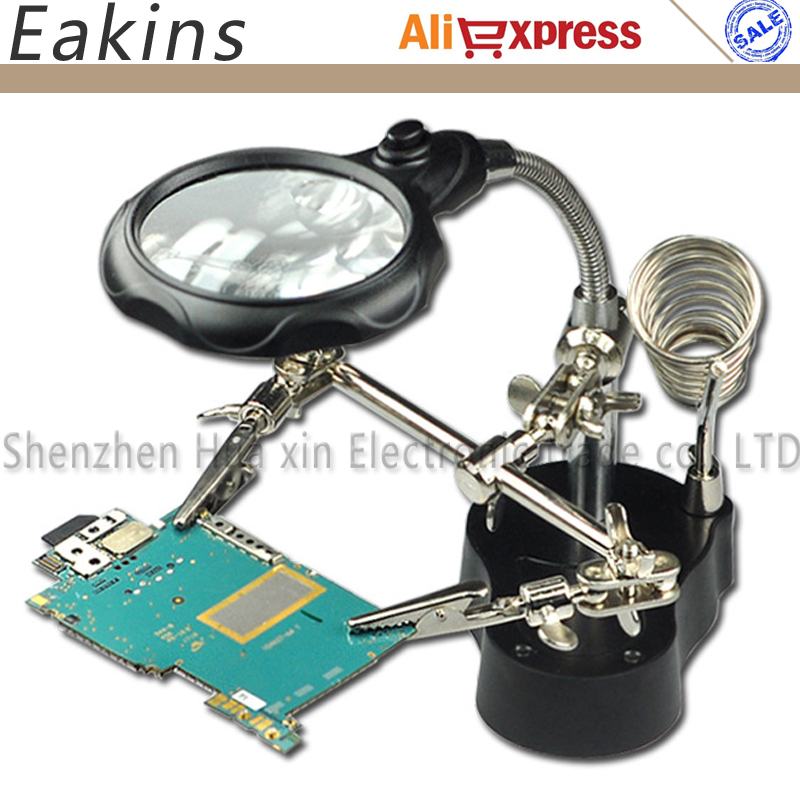 LED Clamp Soldering Iron Stand Helping Hands Magnifying Glass Magnifier Crocodile Clip SMD Hands Soldering Iron Stand 3.5X 12X
