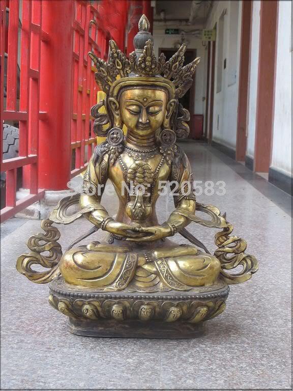 27Tibetan temple pure Bronze Gild hand hold mandragora Amitayus Amitabha Buddha