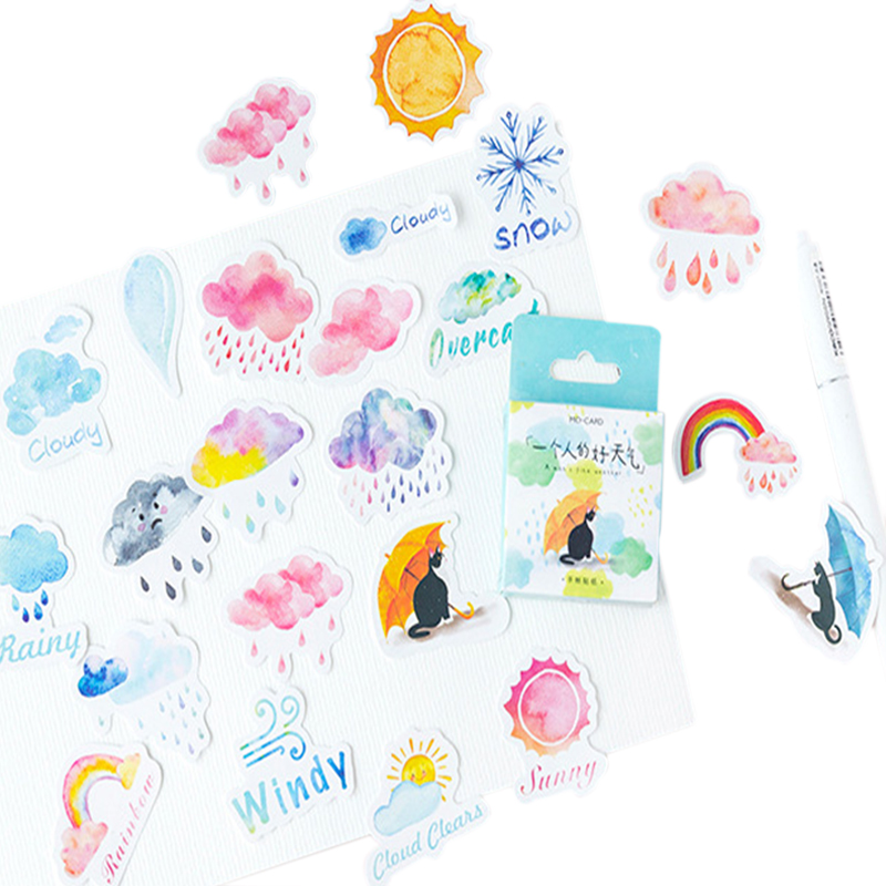 46pcs/box Cute Cartoon One Person Good Weather Boxed Stickers Diary Adhesive Boy Girl Scrapbooking Decorative DIY Stickers46pcs/box Cute Cartoon One Person Good Weather Boxed Stickers Diary Adhesive Boy Girl Scrapbooking Decorative DIY Stickers