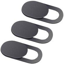3 חבילה שחור אלומיניום סגסוגת Webcam כיסוי מצלמה פרטיות מדבקת עבור טלפון נייד Tablet T1