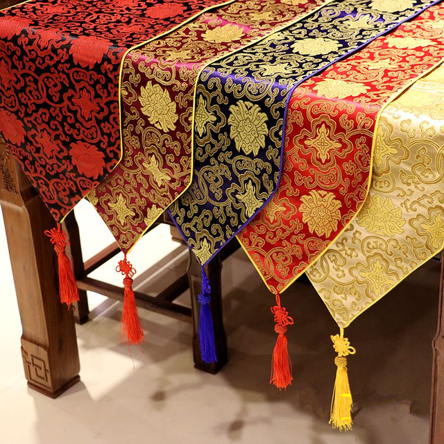 New Chinese Knot Silk Brocade Table Runner Multi Size Dining Table Cloth  Fashion Simple Coffee Table