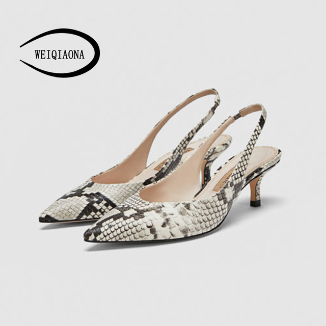WEIQIAONA 2018 New Spring Summer Women Pumps High Heels Shoes Elegant OL Heeled Sexy Pointed Slingbacks Wedding Party Shoes