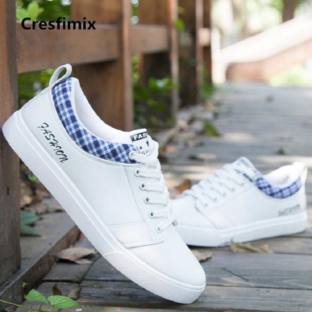 Cresfimix zapatos de hombre male fashion white pu leather lace up shoes