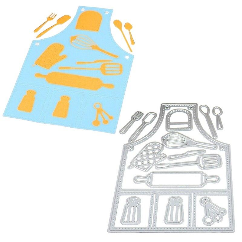 100% Kwaliteit Metalen Stansmessen Embossing Stencil Leuke Keuken Schort Gereedschap Patroon Sterven Craft Voor Diy Kaarten Album Boek Scrapbooking Decoratie Duidelijke Textuur
