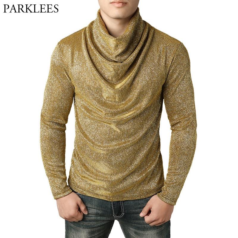 226a017cbf3 Gold Pile Collar T Shirt Men Casual Solid Color Mens Shiny Glitter T-shirts  Punk