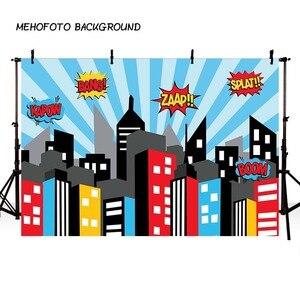Image 3 - Mehofond Super Heroการถ่ายภาพฉากหลังสีชมพูอาคารเมืองเด็กทารกวันเกิดภาพพื้นหลังสตูดิโอถ่ายภาพPhotophone