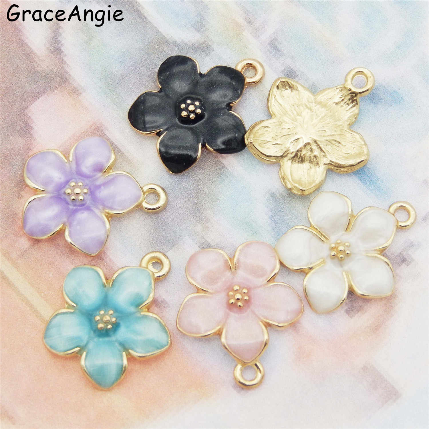 15PCS MIX Enamel Flower Charms For Earrings Pendants Necklace Jewelry Findings Handmade Craft DIY Bangle Bracelet Dec 5 colors
