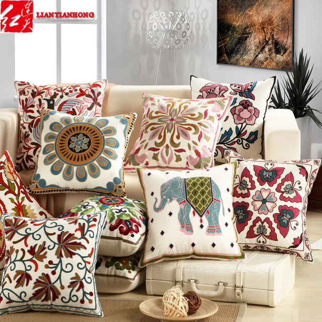 4 Pieces Lot Square 45 45cm Embroidered Luxury Quality Home Decorative Sofa Back Cushion