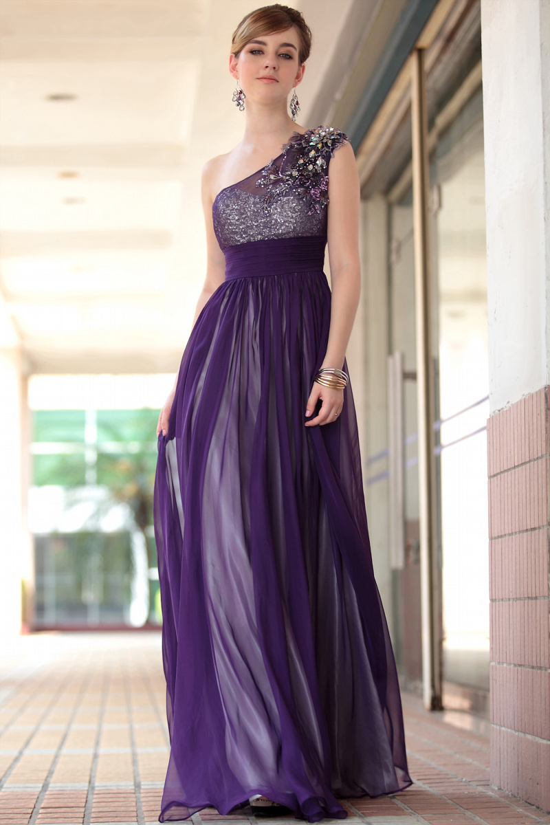 Dorisqueen hotsale2015new arrival elegant one shoulder floor length tulle beading applique sexy purple long  evening dress30653