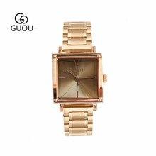 GUOU Mulheres Praça Pulseira Relógio Banhado A Ouro De Aço Inoxidável relógios de Pulso Das Senhoras Casuais Relógios de Quartzo Mulher Relógio À Prova D' Água