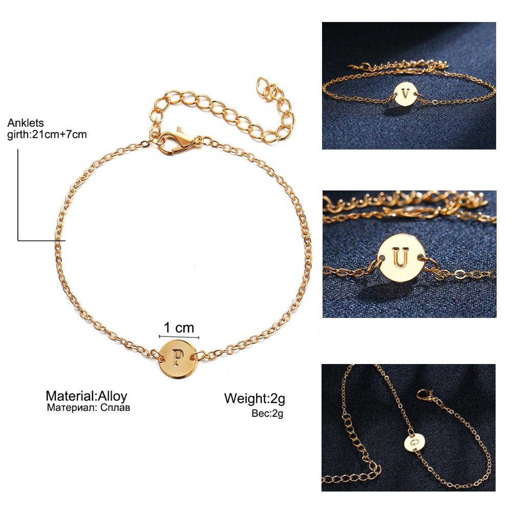 IF ME Fashion Initial Letter Round Charms Bracelet & Bangle for Women Pulseras Capital J K Pendant Chain Name Bracelets Jewelry 5