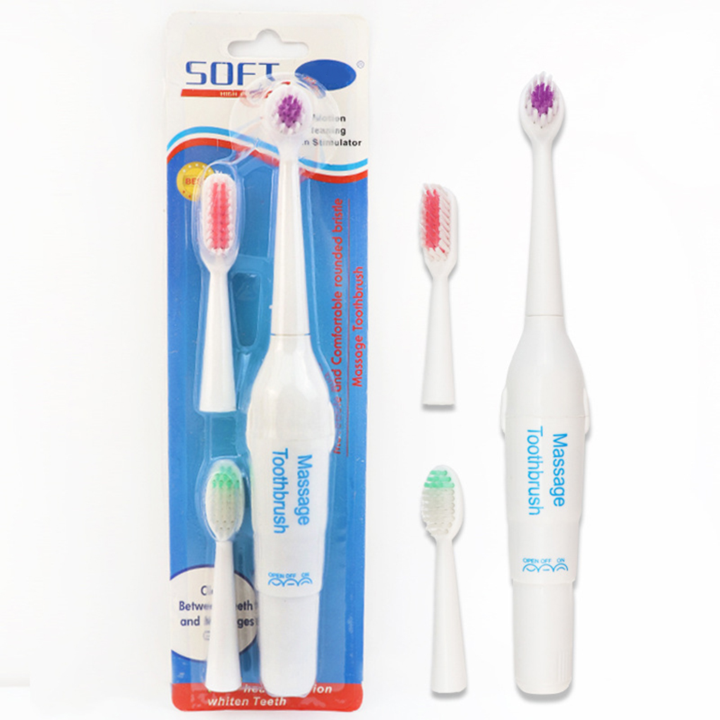 Hot Sale Battery Operated Electric Massage Toothbrush Waterproof Plastic Adult Teeth Whitening Brush Set Random Color