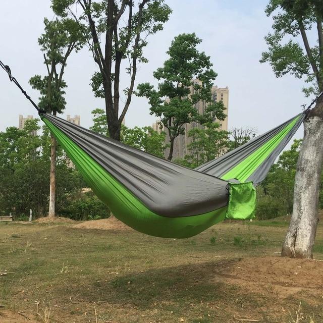 210 t paracadas hamaca camping supervivencia jardn caza doble persona paracadas muebles de exterior con rbol - Hamaca Jardin
