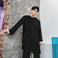 Male Stage Clothes Men Suede Long Sleeve Casual T shirt High Street Hip Hop Punk Gothic Style Irregular Long Tee Shirt
