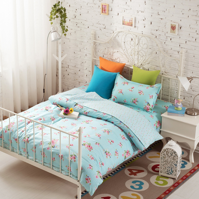 3pcs Rose Bedding Light Blue Bedding Best Bed Sheets Custom Bedding