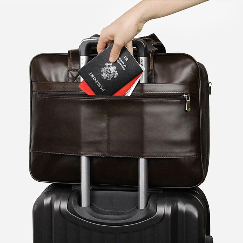 CONTACT'S Вместительная кожаная сумка в винтажном стиле для ноутбука 15.6 инч, может быть использована как дорожная сумка 2019 - 5